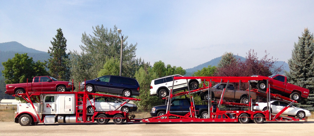 car hauling company truck and trailer